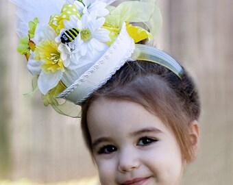 Flower Girl Hat, Easter, Spring, Tea party, Photo Prop, Fascinator - Custom Order