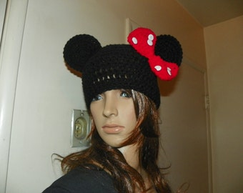 Minnie Mouse Hat  with a Red Bow and White Buttons  Mickey Mouse Beanie Hat  for a  Adult