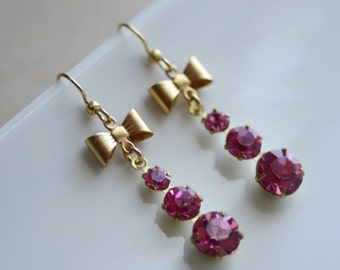 Pink Earrings Estate Style Old Hollywood Glamour Vintage Inspired  Dangle Sparkle Delicate Bow
