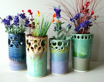 "8"" Vase Cerulean Green/Mocha, Handmade Wheel-Thrown Ceramic Pottery"