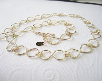 Infinity link gold chain,14kt yellow gold chain necklace