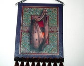 Celtic Harp Tapestry, Dollhouse Miniature 1/12 Scale