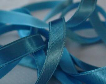 "Rayon Pollyanna Aqua Ribbon, 3/8"",  Woven Edge Priced Per Yard"