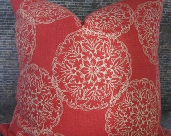 Designer Pillow Cover - Lumbar, 16 x 16, 18 x 18, 20 x 20, 22 x 22, 24 x 24 -  JR Danda Medallion Blockprint Saffron