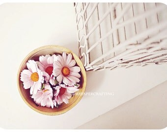 Daisy Pale Pink Mulberry paper flower / pack