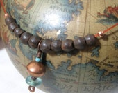 African Inspired Necklace with Old Trade Beads, Copper, and Recycled Aqua Glass on Red Cord