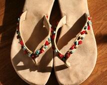 Pocahontas Flip Flops with Beaded Stones - Tan Suede Sandals - Size 7.5 8