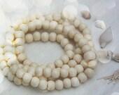 White Rondelle Bone Beads 10x8mm / 108 beads, Indian Yoga Mala Beads, Natural Jewelry Making Supply, Large Hole Beads for Bracelets