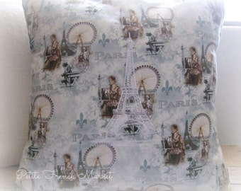 PARIS/ France/ Eiffel Tower/ embroidered/ pillow cover/ fleur de lis/ Ferris wheel/ french postage stamps/ pillow cushions/ pillow covers