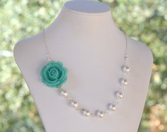 Bridesmaid Statement Necklace. Turquoise Rose Fashion Necklace with White Swarovski Pearls. Bridal Party Jewelry. Wedding Necklace.