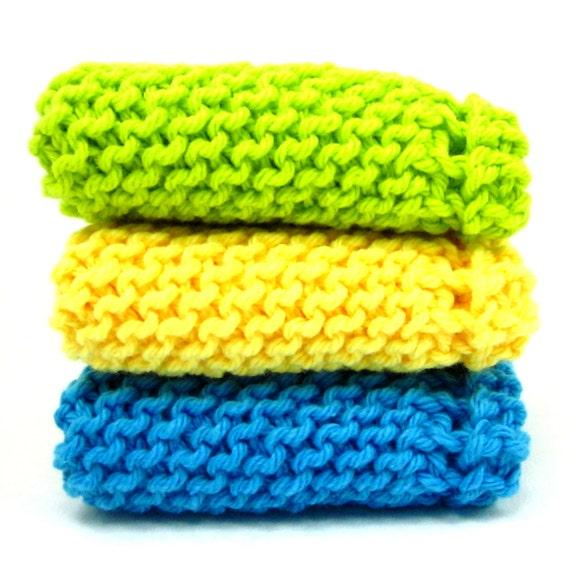 Knit Dishcloths Lime Green Turquoise Yellow Kitchen Cotton