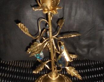 Hollywood regency Vintage gold flower leaves tole candle holder
