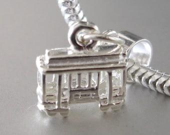 San Francisco CABLE CAR TRAM Sterling Silver Charm Fits All Slide On Bracelets