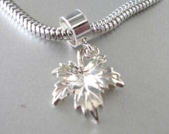 CANADIAN MAPLE LEAF Sterling Silver Charm Fits All Slide On Bracelets