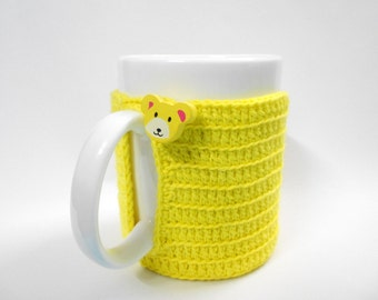 Crochet Cup cozy Yellow cotton yarn, water absorb, 3 inches diameter, wooden bear button