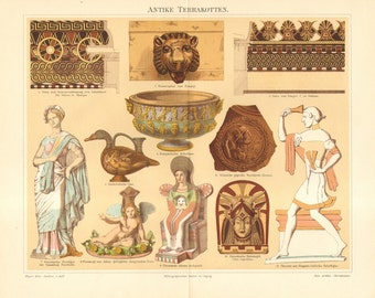 1892 Ancient Terracotta Artifacts and Art, Greek, Italian, Etrurian Original Antique Chromolithograph