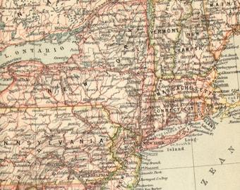 1903 Northeastern States of the Union, American Civil War Original Antique Map