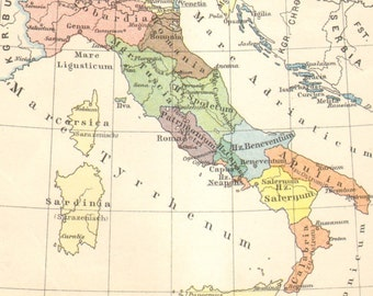 1905 Original Antique Historical Map of Italy