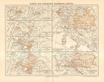 1890 Original Antique Historical Map of Austria and Hungary from Middle Ages