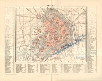 1890 Original Antique City Map of Erfurt, Germany