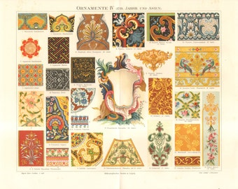 1889 Ornaments from the 17th-18th Century and Asia Original Antique Chromolithograph to Frame