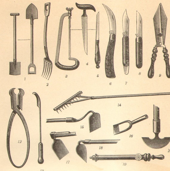 1905 gardening tools antique engraving to by for Gardening tools meaning