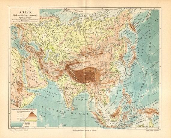 1893 Original Antique Dated Relief Map of Asia