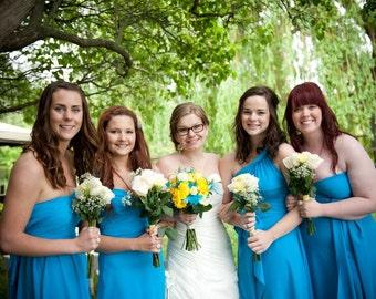 Turquoise Blue Wrap Twist Knee Length Dress of Floor Length Dress ...37 Colors... Bridesmaids, Wedding, Honeymoon, Tropical,  Vacation