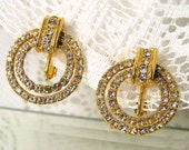 Vintage LES BeRNARD Rhinestone Earrings Bride Evening Mother Gifts High Fashion Clips Bling SALE