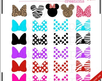 INSTANT DOWNLOAD Mouse Ears Bows Clip Art Digital Graphics - Mouse Head Bow