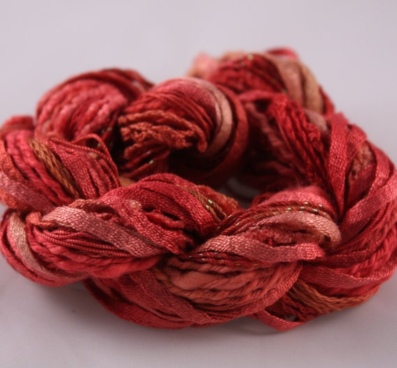 Embroidery Thread perle cotton Variegated Red copper Gold quilting cotton scrapbooking embellishmentTextured yarn