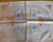 Vintage Placemats - Old Bleach Placemats, Double Damask, Made in Ireland, Hand Painted Placemats