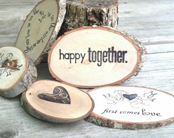 Rustic Love Message MAGNETS || Woodland Table Decor || 25 Branch Slices || Party Supplies Place Cards, Table Confetti, Gift Basket Inserts