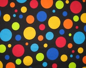 "Timeless Treasures large dots on black 1 yard 25"""