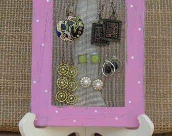 Earring Holder On A Stand / Pink Shabby Chic