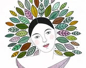 Original watercolor painting, Woman painting with leaves, Lady with leaf crown, Watercolor leaves, Graphic art, Original portrait of woman