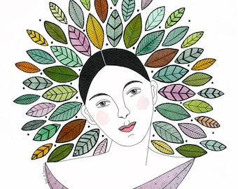 Original watercolor painting, Woman painting with leaves, Lady with leaf crown, Watercolor leaves, Graphic art, Original portrait of woman