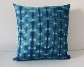 Shibori pillow cushion cover Indigo, Linen cotton 45x45