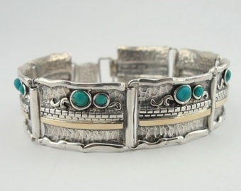 HADAR Israel Beautiful Sterling Silver and gold  Handmade with turquoise stone  bracelet s b1306