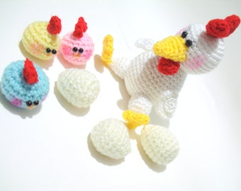Pattern, Amigurumi Hen and Chicks Pattern, Amigurumi Animal Pattern, Chicken and Baby Chicks Pattern, Tutorial