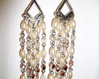khaki, bronze and copper chandelier earrings