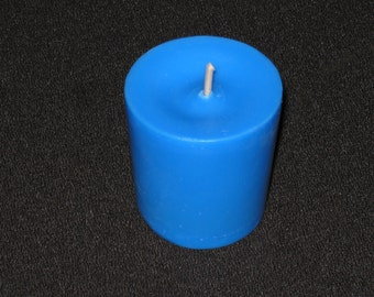 One Dozen Blue Unscented Soy Votive Candles