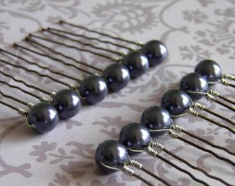 12 Dark Purple 10mm Swarovski Crystal Pearl Hair Pins