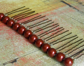 12 Dark Red Bordeaux 10mm Swarovski Crystal Pearl Hair Pins