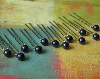 12 Night Navy Blue 8mm Swarovski Crystal Pearl Hair Pins