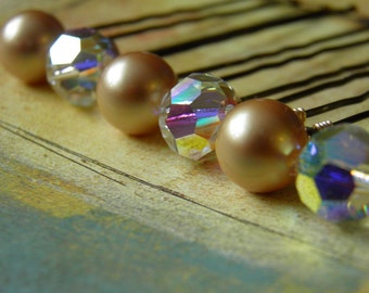 12 Swarovski 10mm Vintage Gold Pearls and Crystals AB Hair Pins