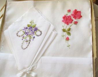White Hankies Set of Two Pink Roses Purple Violets Embroidered Handkerchiefs Original Box