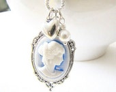 Romantic Cameo Necklace Sky Blue Cameo Pendant Vintage Style Cameo Pendant Silver Cameo - TwigsAndLace