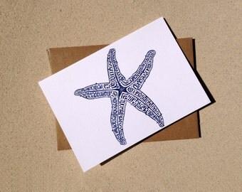 "Notecards - Navy Starfish - Set of Eight (3 1/2"" X 5"")"