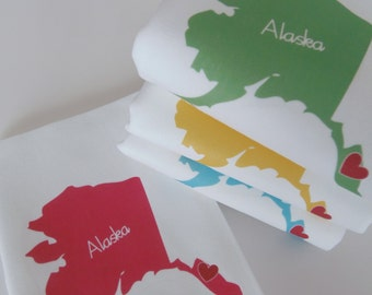 I Love Alaska, Set of Four Napkins- Set of FOUR